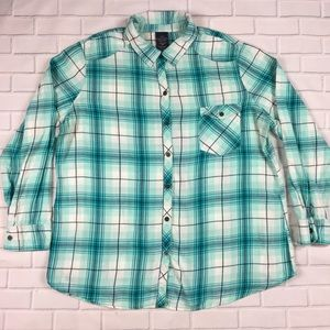 Faded Glory Plaid Flannel Button Blue Sz XXL (20)